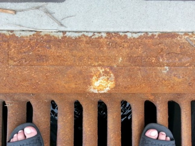 "The cast-iron grates are embossed with a rusted-over message, ""Dump No Trash, Drains to Fresh Water."""