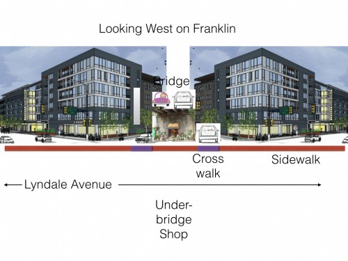 Franklin Avenue at Lyndale Avenue looking Westbound (side view)