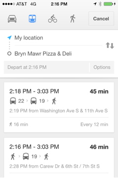 Transit Options for Bryn Mawr Pizza and Deli