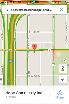 Google Maps for Open Streets Minneapolis