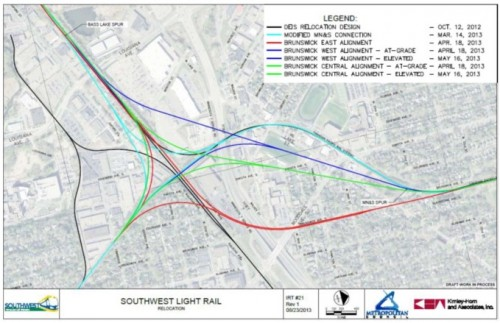 Potential St. Louis Park freight rail realignments (TranSystems)