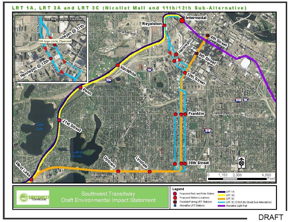 Southwest Light Rail alternatives through South Minneapolis