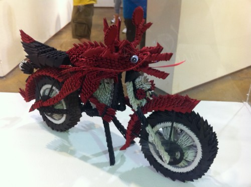 Origami motorcycle and creature