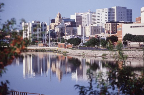 View of downtown Rochester on the Zumbro River