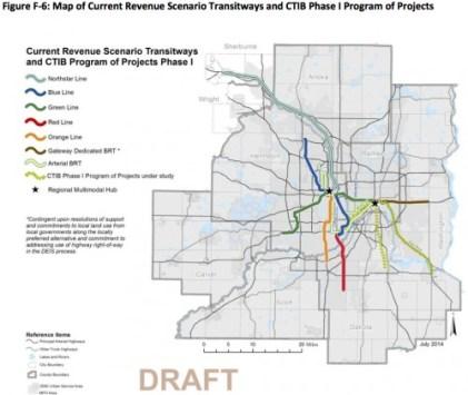 Planned transitways under current revenue scenario