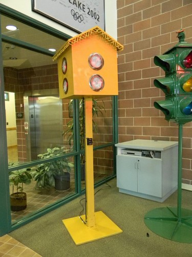Replica of the first traffic light (although this appears to use all red lenses). Utah Department of Transportation, CC License.