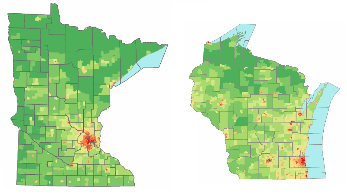 Wisconsin is less visibly dominated by Milwaukee than Minnesota is by the Twin Cities (Source: Wikipedia with Census Data)