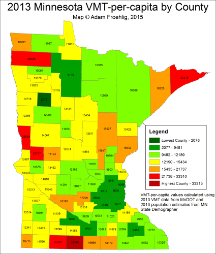 2013 VMT per capita by county.  Map by the author using data from MnDOT and the Minnesota State Demographer.