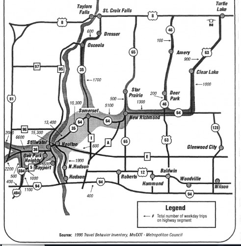 Interesting graphic of where weekday bridge traffic comes from and goes from the 1995 Final EIS