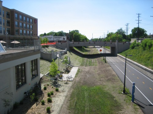 Midtown Greenway frontage (2006) - note Sheraton patio and greenway bike parking and access