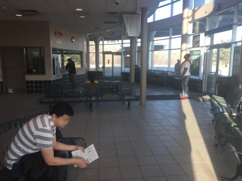 Burnsville Transit Station's indoor waiting area.