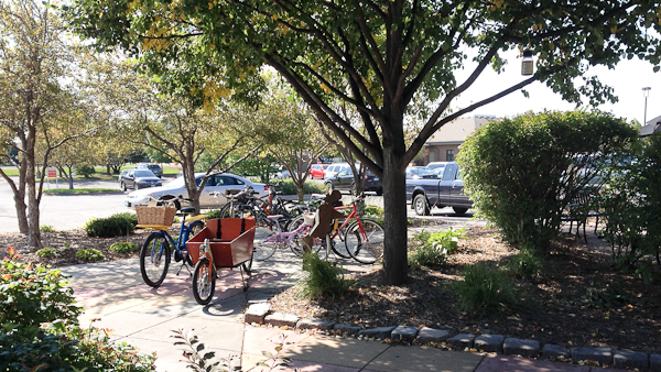 A number of bikes at local eateries is increasingly common.