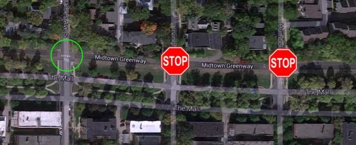 Stop signs on Greenway Corridor