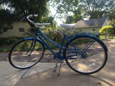 image of blue city bike