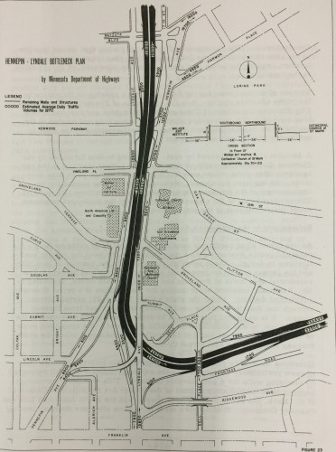 """The I-94 proposal for the Lowry Hill area from 1957.  Image from the study """"Freeways in Minneapolis""""."""