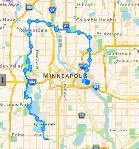 Map of the route to the 20 mile mark