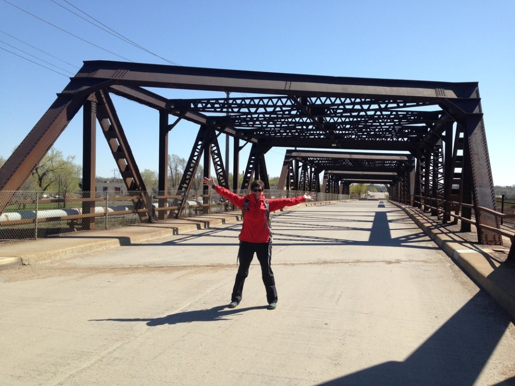 Janelle standing in middle of St. Anthony Parkway