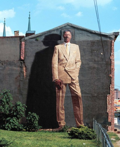 """""""Dr. J"""", the first mural in Philadelphia to use parachute-cloth fabric-transfer. Photo by Jack Ramsdale"""