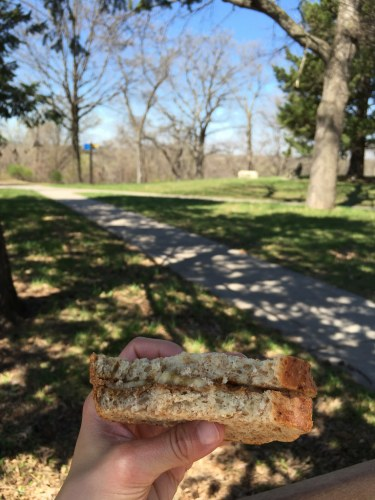 Banana and almond butter sandwich