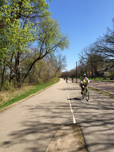 Bikes on Grand Rounds trail