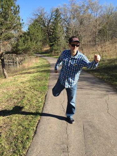 Scott  walking on trail