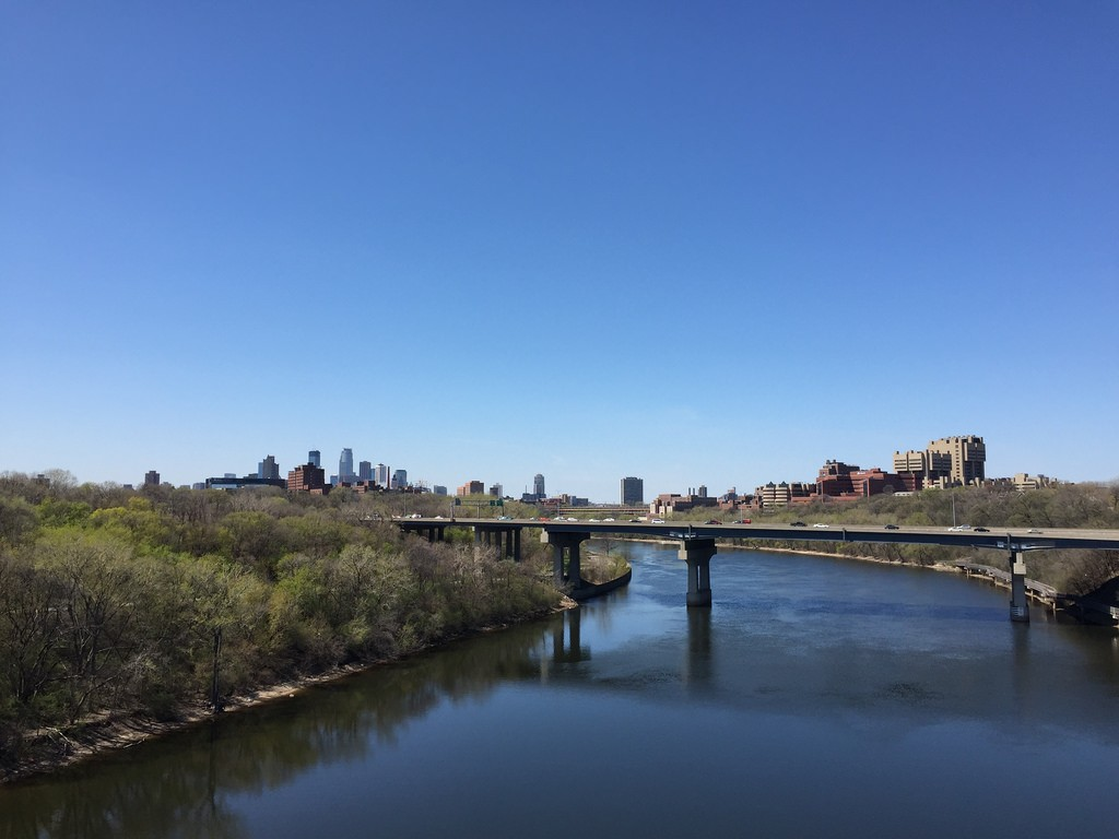 View of Minneapolis and the University of Minnesota health sciences from the Franklin Avenue bridge over the Mississippi River