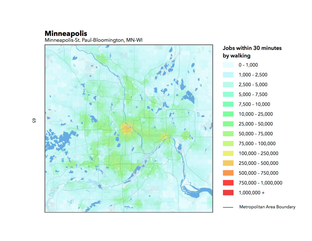 Access to Jobs by Walking in Minneapolis-St. Paul region. Source: Accessibility Observatory
