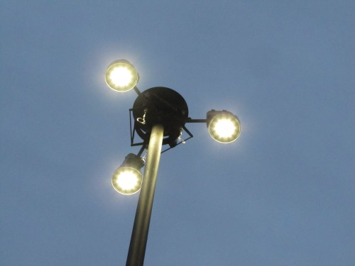 Retrofitted LED high mast light, Houlton, ME