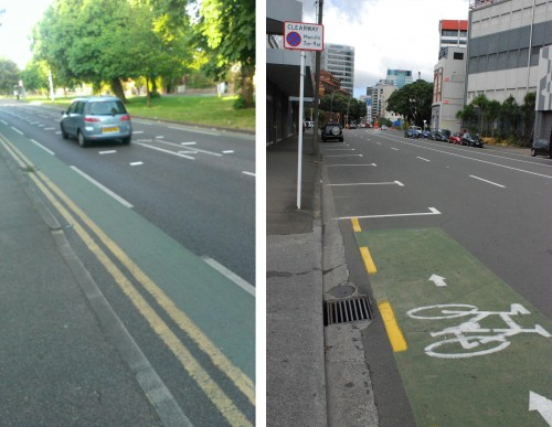 Narrow bikelanes in London (L) and Wellington (R).