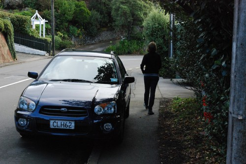 Car blocking sidewalk in Wellington, New Zealand