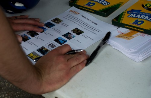 A man fills out a survey about improvements he'd like to see to Eighth Avenue. / Credit: James Warden
