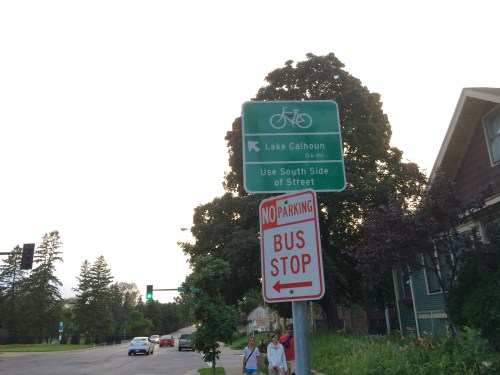 An unhelpful sign telling you where the bike lane is