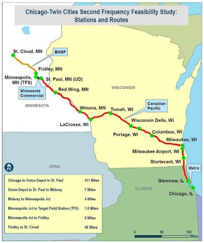Route map extending from St. Cloud through the Twin Cities to Chicago