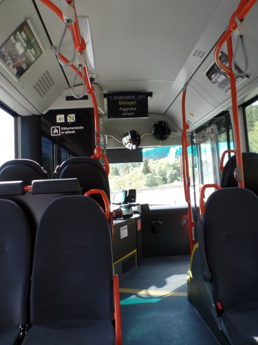 info screen on a bus