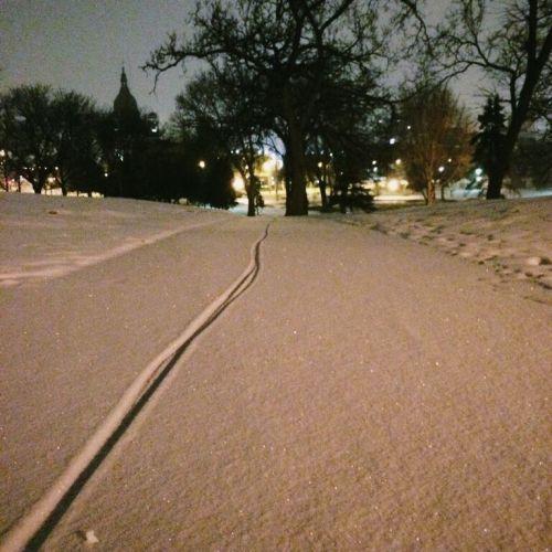 bike tire tracks in snow
