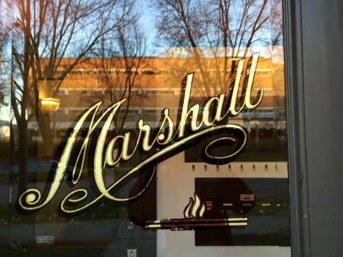 Marshall spelled out in beautiful typography on an apartment door