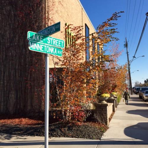 Street sign for W Lake Street
