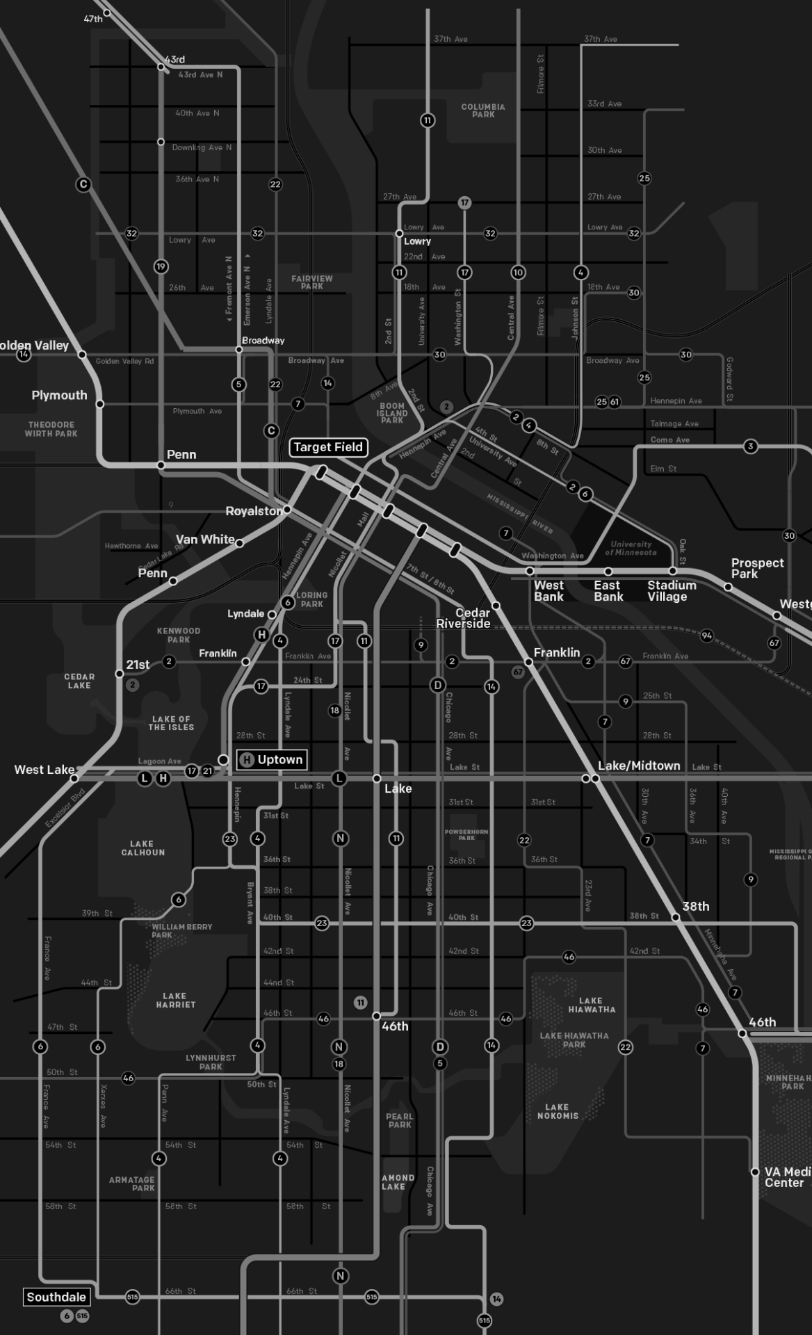 Future Minneapolis Transit Map by Kyril Negoa at Mapping Twin Cities Tumbler