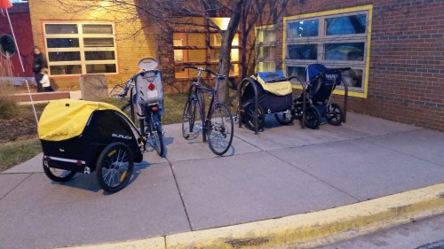 About 5% of the kids at our daycare get there by bike or stroller.