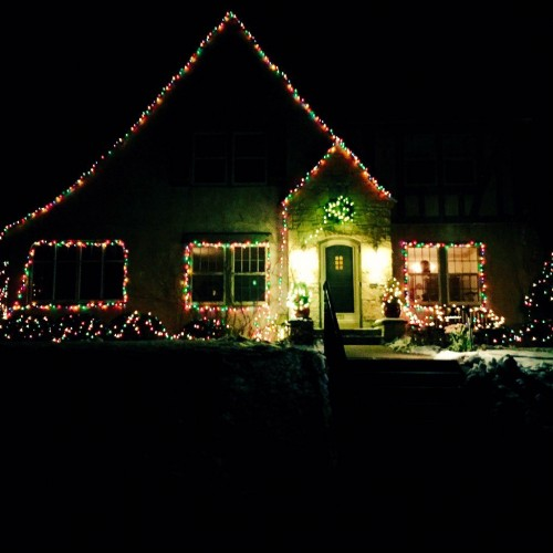 Home outlined in lights