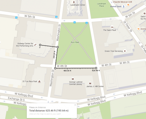 Map of Rice Park, a black line along the sidewalk creates a path walked along where all these spots were.