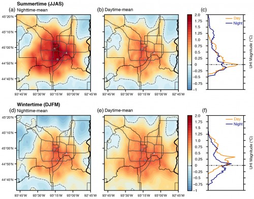 The distribution of temperatures across the Twin Cities urban heat island averaged over nighttime and daytime, by season.