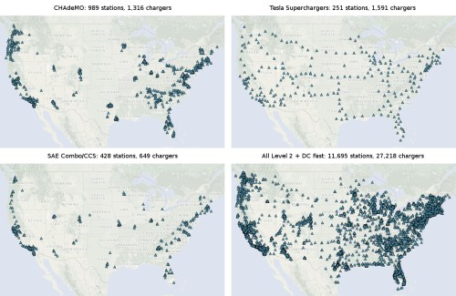 Composite of maps showing coverage for CHAdeMO, SAE Combo/CCS, and Tesla fast DC chargers, plus a fourth showing all stations using the previous 3 standards plus Level 2 charging stations