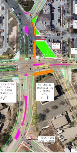 Current plan (from Hennepin County) Pink = new or modified medians, Red= changed curb lines, Orange=combined bike/pedestrian, Green = current street area that will not be open to cars