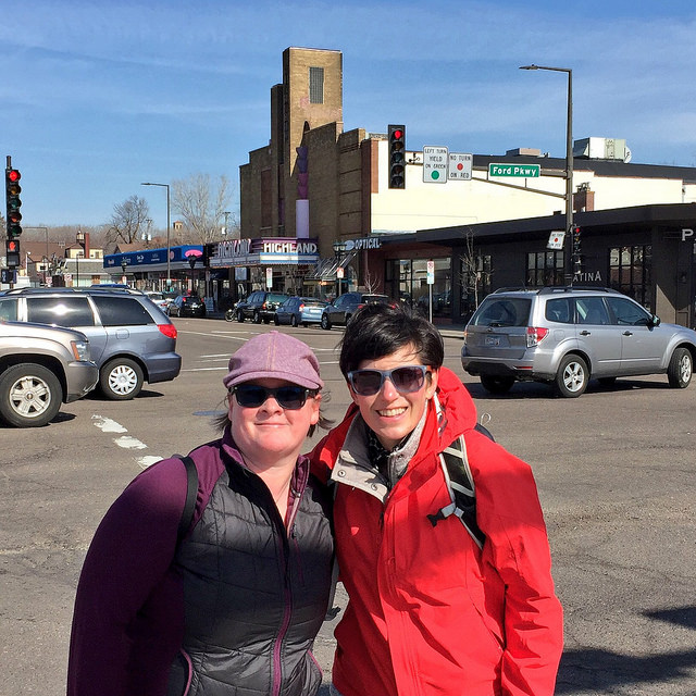 Heidi Schallberg and Janelle Nivens in the Highland Park neighborhood in St. Paul