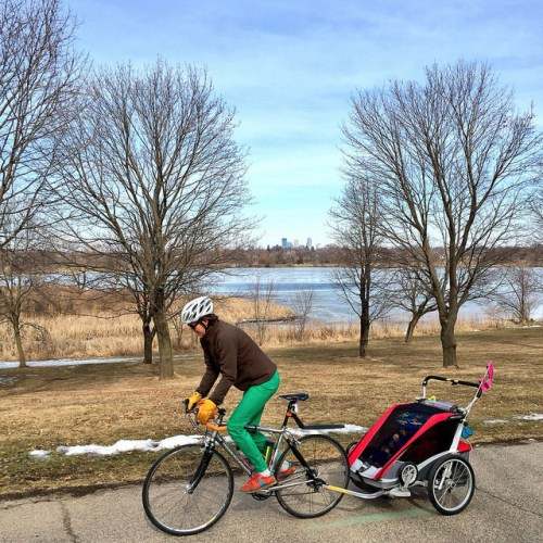 Biking with a burley on Minneapolis Grand Rounds