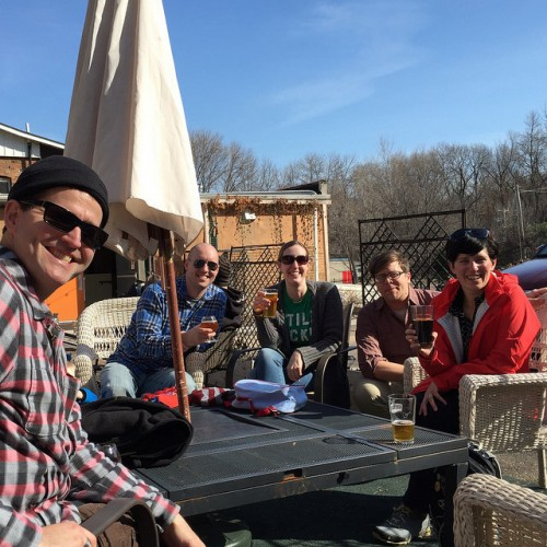Friends on the patio of Wabasha Brewing Company