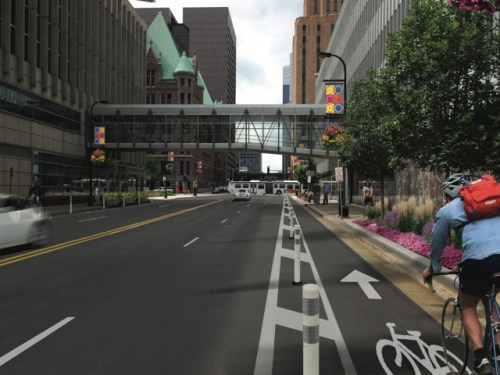 Adjusting the proposal to include another traffic lane at the expense of the street-area greening would look something like this.