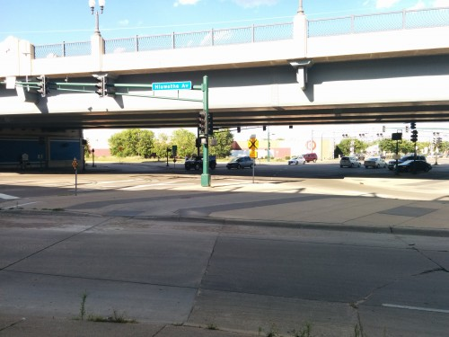 The intersection of Hiawatha (Highway 55) and East Lake Street. Photo by Peter Bajurny.