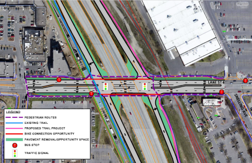 """The """"Tight Diamond"""" was examined as one of five possible reconfigurations of Hi-Lake. Image from """"Hi-Lake Interchange Study"""" February 2016."""